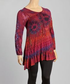 Look what I found on #zulily! Maroon & Red Tie-Dye Swing Tunic - Plus by Windcircle #zulilyfinds