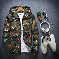 Mens Summer Camouflage Hoodie Jacket Butterfly Print – I Want It Now! Windbreaker Jacket, Hoodie Jacket, Bomber Jacket, Jacket Men, Camouflage Jacket, Army Camouflage, Poster S, Jacket Pattern, Collar Pattern