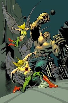 Hawkman and Hawkgirl by Kevin Nowlan