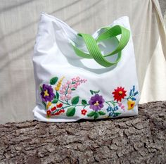 white tote bags beachbag handbag shoulderbag by embroidream, $129.00
