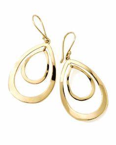 Y1R8G Ippolita 18K Gold Open Double Teardrop Earrings