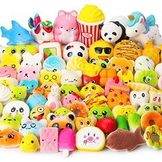WATINC Random 70 Pcs Squishies, Birthday Gifts for Kids Party Favors, Slow Rising Simulation Bread Squishies Stress Relief Toys Goodie Bags Egg Filler, Keychain Phone Straps, 1 Jumbo Squishies include Birthday Gifts For Kids, Valentines Day Gifts For Him, Valentines Day Decorations, Birthday Ideas, Stress Toys, Stress Relief Toys, Kid Party Favors, Party Gifts, Birthday Favors