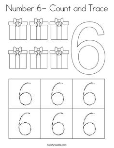Number Count and Trace Coloring Page - Twisty Noodle Alphabet Activities Kindergarten, Preschool Number Worksheets, Teaching Numbers, Numbers Preschool, Kindergarten Learning, Tracing Worksheets, Preschool Books, Preschool Lessons, Preschool Math