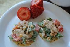 Mediterranean Salmon Salad on Whole Grain Crackers (thrifty lunch idea!)