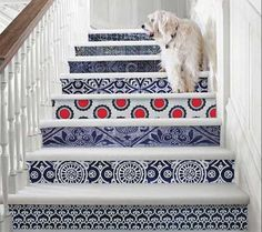 blue wallpaper patterns for staircase decorating, http://www.lushome.com/adding-beautiful-wallpapers-stairs-risersr-original-staircase-designs/98990