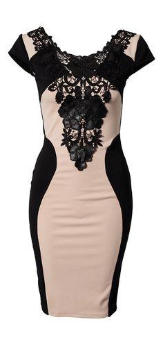 Cream + Black Silhouette Dres