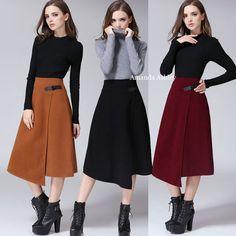 スカート ★可愛いイレギュラーヘム♪Aラインミディスカート全4色★