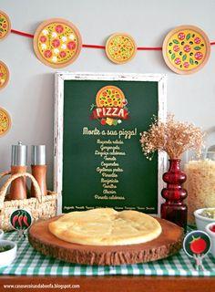 Festa da Pizza Pizza Party Themes, Kids Pizza Party, Food Themes, Pizza Party Birthday, Birthday Parties, 4th Birthday, Girl Birthday Themes, Birthday Party Decorations, Ice Cream Pizza