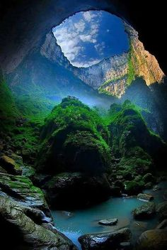 """""""The Xiaozhai Tiankeng. """" The Xiaozhai Tiankeng, also known as the Heavenly Pit, is the world's deepest sinkhole. It is located in Fengjie County of Chongqing Municipality, in southwest China. Beautiful Places To Travel, Cool Places To Visit, Beautiful World, Places To Go, Beautiful Ocean, Peaceful Places, Landscape Photography, Nature Photography, Adventure Photography"""