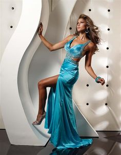 sexy dress  long dress  floor length  high slit  v-neck