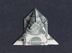 SPACE SHIP Money Origami Paper Folding Crafts, Origami Paper Folding, Origami Art, Paper Crafts, Oragami Money, Folding Money, Pictures For Sale, Dollar Origami, Useful Origami