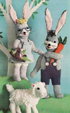 Vintage 1960s Knitting Pattern, Mr & Mrs Bunny, Lamb, Instant Download Pdf from GrannyTakesATrip