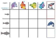 * Vissenspel! 1-2 De vissen zijn uitgeprint en gelamineerd. Je kunt de vissen op drie verschillende maten uit printen. Door de gelamineerde vissen zijn van ijzerdraad lusjes gemaakt. Hierdoor moet je met het haakje van de hengel de vis vangen. Een patroon van de vissen vind je hierboven. In de hoeken kunnen de kinderen dit oefenen. Zij kunnen op het formulier invullen wat ze hebben gevangen.