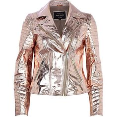 River Island: Rose gold metallic leather biker jacket