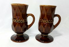 Vintage Faceted Ceramic Pedestal Cappuccino by TeaLightedTeacups