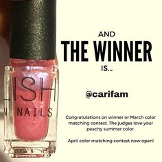 Congratulations on winning March color matching contest. The judges love your peachy summer color. Check your inbox to claim your prize.  April color matching contest now open! Details below ***************************************************** Win a free Mixify Polish create your signature nail polish color kit! April color matching contest is now open.  Spring has arrived on the West Coast so let's celebrate! Post your Spring Break inspired color matching creations before 4/30....