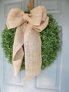 Boxwood Wreath with Burlap Bow