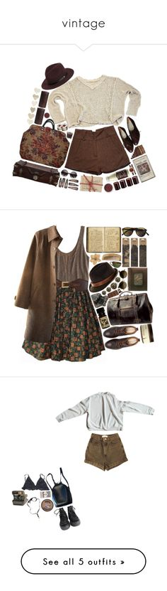 """""""vintage"""" by elizabeth-louis ❤ liked on Polyvore featuring rag & bone, HANDSOM, Pier 1 Imports, Baudelaire, Laura Mercier, Bare Escentuals, Caravelle by Bulova, Renzo and Kai, Vince Camuto and Pull&Bear"""