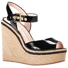 Sandália de couro preto com acabamento em verniz - Jorge Bischoff