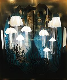Beautiful lighting jellyfish #display at @rtl_design Perfect to create depth in #window using layered 2 dimensional props #rde2016