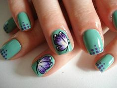 Easy Nail Art Designs (Tutorials) for Beginners Get Nails, Love Nails, How To Do Nails, Pretty Nails, Hair And Nails, Sassy Nails, Butterfly Nail, Purple Butterfly, Purple Flowers