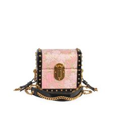 This black and pink Prada box clutch is the result of expert Italian craftsmanship – features a small trunk design, pink floral brocade with gold hardware, a great piece for your collection. Floral Bags, Mini Crossbody Bag, Gold Studs, Pretty In Pink, Dust Bag, Prada, Trunks, Purses, Designer Bags