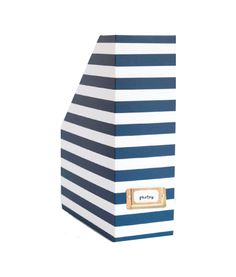 To hide all my cooking magazines. Design Darling home decor & monogrammed gifts — Magazine Box - Navy Stripe Navy Office, Office Style, School Office, Office Color Schemes, Desk Stationery, Stationary, Diy Storage Boxes, Girly, Gold Interior
