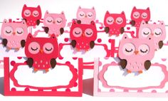 10 Owl Themed Mixed Light Pink and Hot Pink Tent Style Food Table Label's / Name Cards Look Whoo's Having A Birthday Party - Woodland Owl Party Decorations, Table Labels, Farm Animal Party, Name Cards, Farm Animals, Tent, Hot Pink, Hello Kitty, Birthday