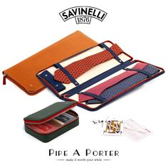 Travel tie holder and playing card case by Savinelli only on www.pipeaporter.com