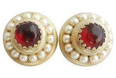 1950s Napier Faux-Garnet Cabochon Earrings