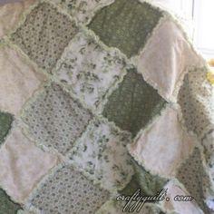 pretty color scheme , looks like 4 fabrics Crafty Quilt Portfolio - Large Quilts - Sage Green Flower Rag Quilt