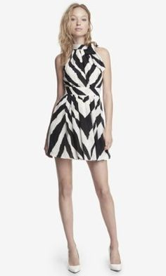 ZEBRA PRINT TIE NECK HALTER DRESS from EXPRESS