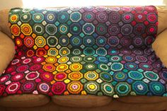Beautiful rainbow afghan done in octagons and squares by -kilgoretrout- on Reddit  https://www.reddit.com/r/crochet/