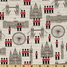 Amazon.com: 44'' Wide London Buildings Cream/Multi Fabric By The Yard: Fabric.com