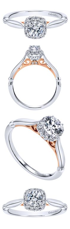 It's the little details that count with any engagement ring. A 14k white and rose gold contemporary halo engagement ring by Gabriel & Co. Rose Gold and White Gold compliment each other and add so much color and sparkle in this engagement ring!