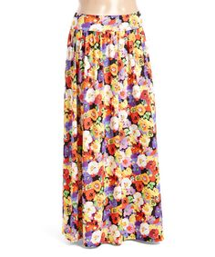 Look at this #zulilyfind! Red & Yellow Floral Maxi Skirt - Plus #zulilyfinds