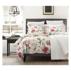 Hummingbird Reversible Duvet Cover Sham (€26) ❤ liked on Polyvore featuring home, bed & bath, bedding, bed accessories, pottery barn, flower bedding, pottery barn pillow shams, pottery barn bedding and bird bedding
