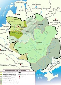 Expansion of Lithuania in the 13th to 15th centuries.