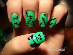 Get a Frankenstein mani #nails #halloween