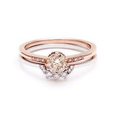 Hazeline Ceremonial Set engagement ring commitment band in rose gold unique – Anna Sheffield