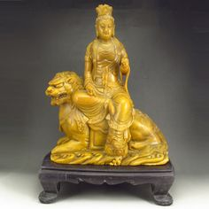 Superb Hand Carved Chinese Natural Shoushan Stone Statue - Kwan-yin & Foo Dog
