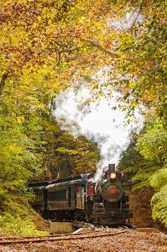 Landscape Photograph Steam Train with Autumn Foliage by Melissa Fague from PI Photography and Fine Art