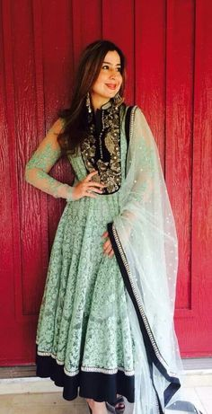 Pretty mint green anarkali