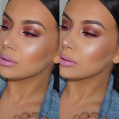 """Jelena Peric on Instagram: """"Pink vibes today because you guys are amazing! Thank you for 400k!I love you! Here's the details: Face: @marcbeauty coconut primer @maybelline Fit me foundation '220' @iconic.london cream contour palette @lauramercier translucent loose powder @iconic.london powder contour palette @jnbeauty sheer glow lotion 'Aphrodite' @maccosmetics bronzer 'Refined golden' @sigmabeauty Aura powder blush @ofracosmetics highlighter 'You glow, girl! Eyes: #maccosmetics paint pot 'P"""