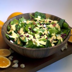 Almost Skinny Vegan Food: 'Creamy' Orange Cashew Dressing & Super Green Pomegranate Salad