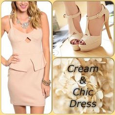 ❌ BIG SALE Cream Color-HOST PICK This cream colored peplum dress features zipper closure, straps and keyhole front. Fully lined. Shell 95% Polyester 5% Spandex Lining: 100% Polyester (This closet does not trade or use PayPal) Ark & Co Dresses