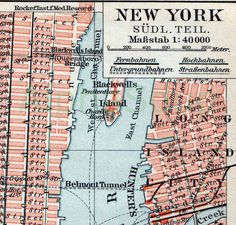 New York City Streets Map Colorful Antique1909 German Chromoithographic Print. $12.00, via Etsy.