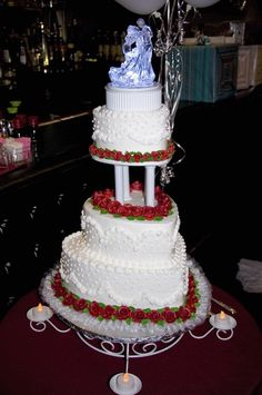 3 tier heart shaped wedding cake. Cake stand was from Michael's.