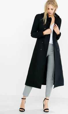 Long Wool Blend Trench Coat | Express