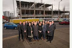 2016: Team Nottingham - including PR agency Cartwright Communications - outside the BioCity expansion, which is being built by Willmott Dixon. #MIPIM